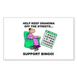 Support Bingo Rectangle Sticker