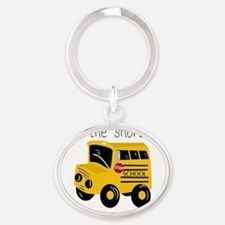 I ride the short bus (txt) Oval Keychain