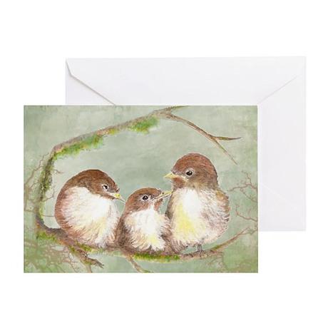Cute Cuddling Family of Sparrows Wat Greeting Card