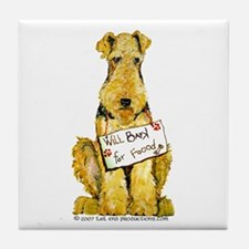 Airedale Terrier Bark for Food Tile Coaster