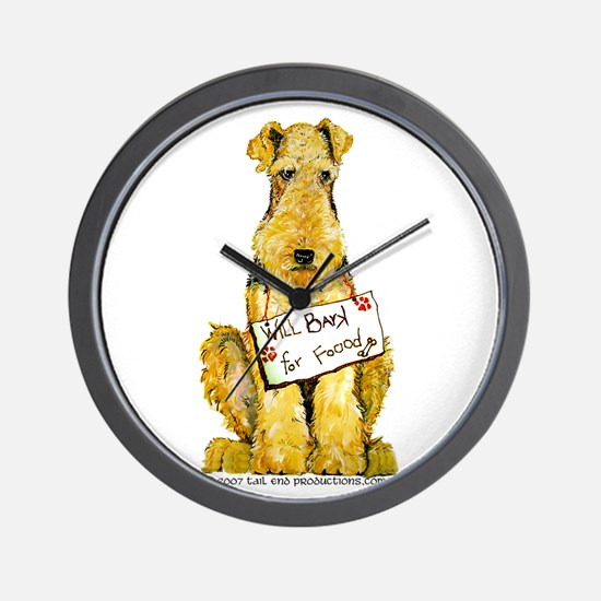 Airedale Terrier Bark for Food Wall Clock