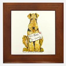 Airedale Terrier Bark for Food Framed Tile