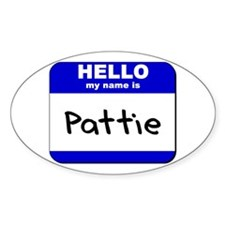 hello my name is pattie Oval Decal
