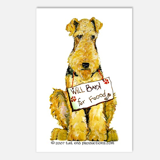 Airedale Terrier Bark for Food Postcards (Package