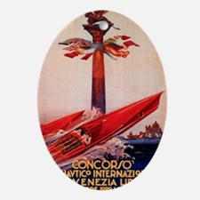 Antique 1929 Venice Lido Speed Boat  Oval Ornament