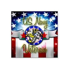 "US Navy Veteran Square Sticker 3"" x 3"""