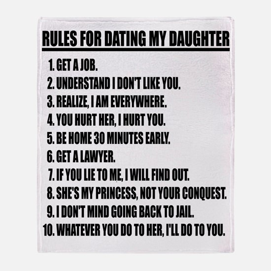 Rules For Dating My Daughter Throw Blanket