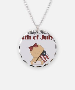 Girl Babys First 4th of July Necklace