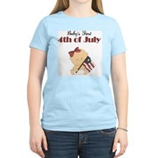 Girl Babys First 4th of July T-Shirt