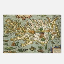 Iceland Map 1590 Postcards (Package of 8)