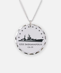 USS Indianapolis Image Round Necklace
