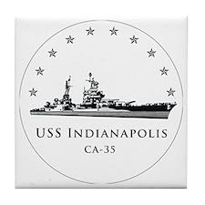 USS Indianapolis Image Round Tile Coaster