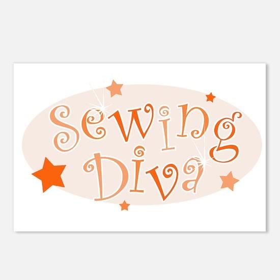"""Sewing Diva"" [orange] Postcards (Package of 8)"