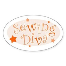 """Sewing Diva"" [orange] Oval Decal"