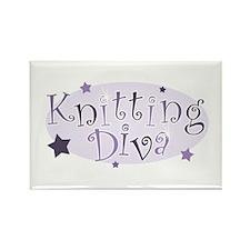 """""""Knitting Diva"""" [purple] Rectangle Magnet"""