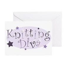 """""""Knitting Diva"""" [purple] Greeting Cards (Package o"""