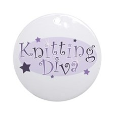 """Knitting Diva"" [purple] Ornament (Round)"