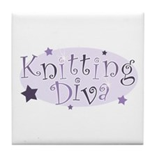 """Knitting Diva"" [purple] Tile Coaster"