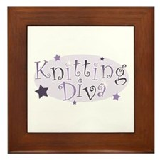 """""""Knitting Diva"""" [purple] Framed Tile"""