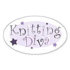 """Knitting Diva"" [purple] Oval Decal"