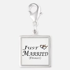 Finally Married Gay Pride Silver Square Charm