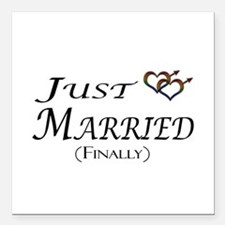 """Finally Married Gay Prid Square Car Magnet 3"""" x 3"""""""