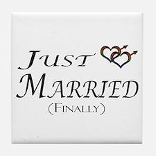 Finally Married Gay Pride Tile Coaster