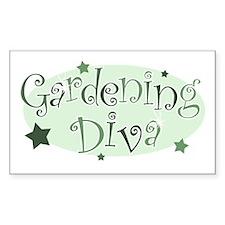 """Gardening Diva"" [green] Rectangle Decal"