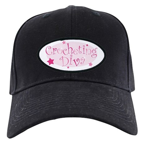"""Crocheting Diva"" [pink] Black Cap"