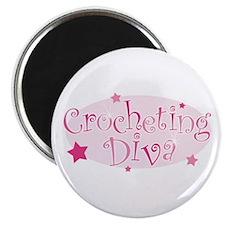 """Crocheting Diva"" [pink] Magnet"