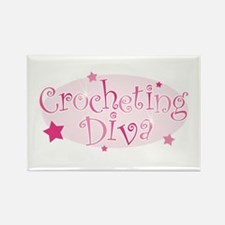 """Crocheting Diva"" [pink] Rectangle Magnet"