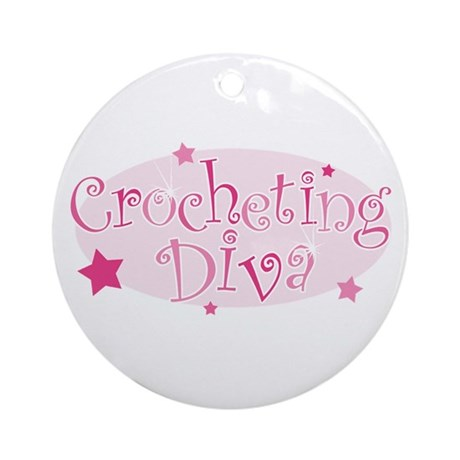 """Crocheting Diva"" [pink] Ornament (Round)"