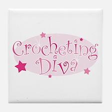 """Crocheting Diva"" [pink] Tile Coaster"