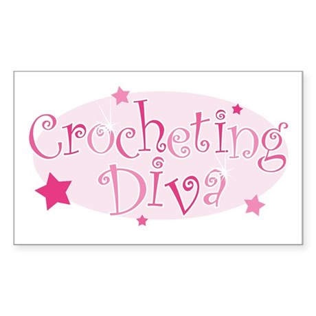 """Crocheting Diva"" [pink] Rectangle Sticker"