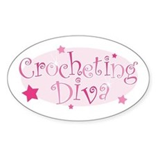 """Crocheting Diva"" [pink] Oval Decal"
