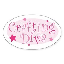 """""""Crafting Diva"""" [pink] Oval Decal"""