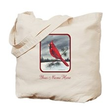 Red Northern Cardinal Bird Personalize Tote Bag
