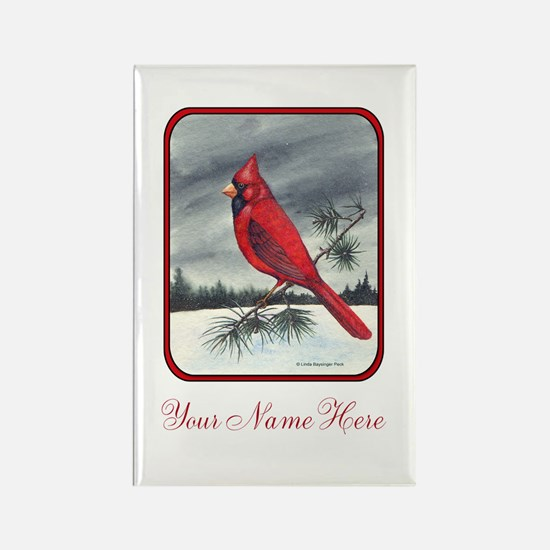 Red Northern Cardinal Bird Personalize Magnets