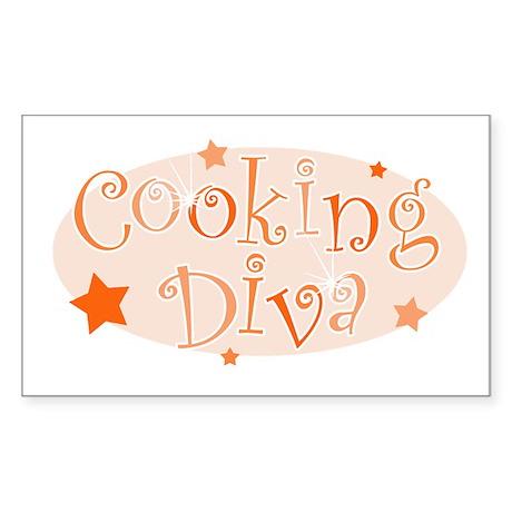 """Cooking Diva"" [orange] Rectangle Sticker"