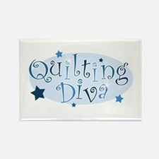 """Quilting Diva"" [blue] Rectangle Magnet"