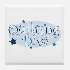 """Quilting Diva"" [blue] Tile Coaster"