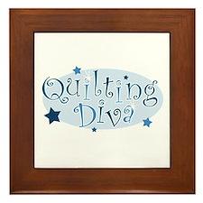 """""""Quilting Diva"""" [blue] Framed Tile"""