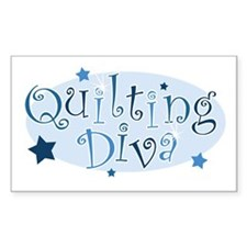 """Quilting Diva"" [blue] Rectangle Decal"