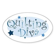 """Quilting Diva"" [blue] Oval Stickers"