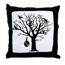 Musical Birds in Tree 2 Hangman blue  Throw Pillow