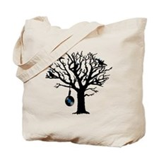 Musical Birds in Tree 2 Hangman blue viny Tote Bag