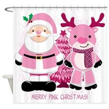 Merry Pink Christmas! Shower Curtain