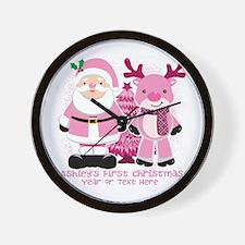 Personalize Pink Santa! Wall Clock