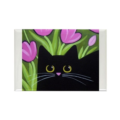 Black CAT Pink Tulips ART Magnets