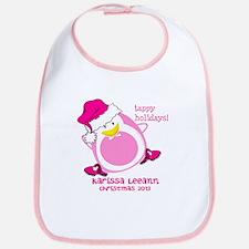 Personalize Pink Dancing Penguin Bib